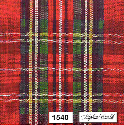(1540) TWO Individual Paper Luncheon Decoupage Napkin - RED TARTAN PATTERN PLAID
