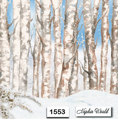(1553) TWO Individual Paper Luncheon Decoupage Napkin - WINTER TREES WOODS SNOW