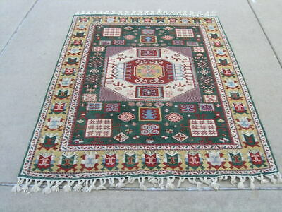 Exceptional Vintage Turkish Kazak Karachopf Design Medallion Green 55x75""