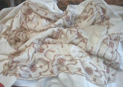 Antique 1920s French Pink Metallic Beaded Silk Panel or Scarf 84 x 21 As Is