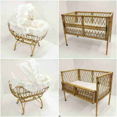 Rattan Bassinet with Stand & Baby Cot for use with Dolls  PICK UP ONLY #920