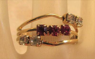 Vintage 70's Glass Crystal Rhinestone Cocktail Adjustable Ring Red Clear