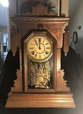 ANTIQUE WALNUT GINGERBREAD MANTEL CLOCK BY TERRY CLOCK COMPANY Pittsfield, Mass.