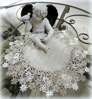 Lace Doily Sophisticated Floral Large 19 inch Neutral Daisy Table Topper