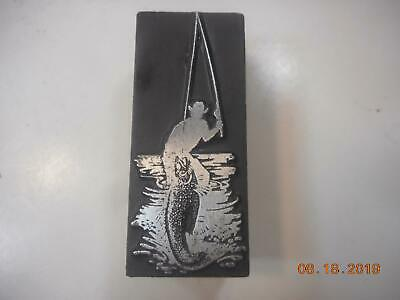 Printing Letterpress Printer Block Fisherman Catches Fish Printer Cut