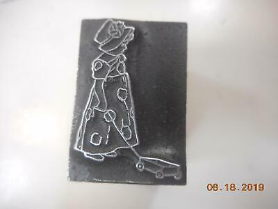 Printing Letterpress Printer Block Girl In Polka Dots Toy On String Printer Cut
