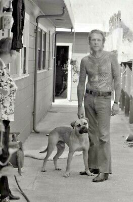 1970's LYLE TUTTLE TATTOO COLLECTION 1 OF A KIND B&W NEGATIVE LYLE & HIS DOG D-1