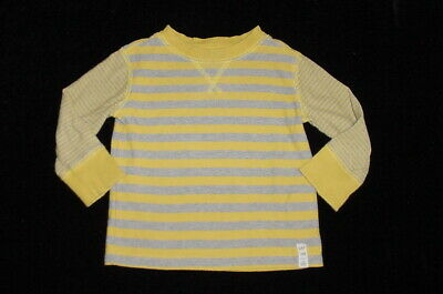 EUC Baby GAP Outlet Boys Gray and Yellow Striped Long Sleeve Shirt 12-18 M