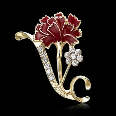 Rhinestone Women Brooch Pin Thanksgiving Day Carnation Flower Breastpin Jewelry