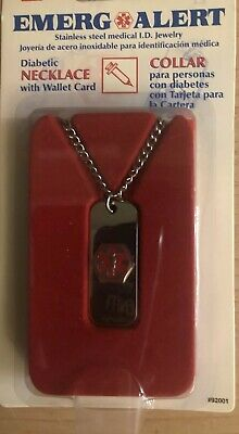 Medical Diabetic Alert Dog Tag Emergency ID Necklace Jewelry Stainless Steel NIP