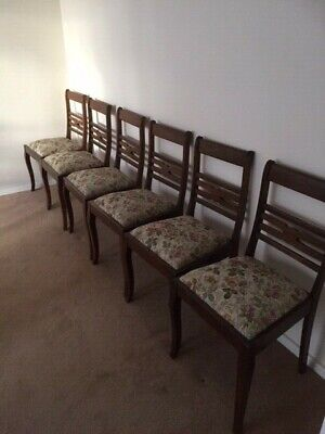 6 Vintage dining chairs   drop in seats ideal for restoration