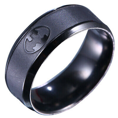 Black Batman Stainless Steel Titanium Band Ring Wedding Engagement Size 6