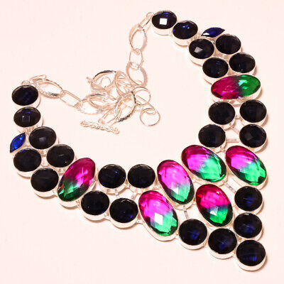 """Faceted Multi Tourmaline, Iolite Selective 925 Silver Jewelry Necklace 18"""""""