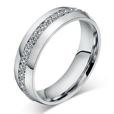 6MM Men Women Band Ring Wedding Stainless Steel Engagement Jewelry Silver Sz5
