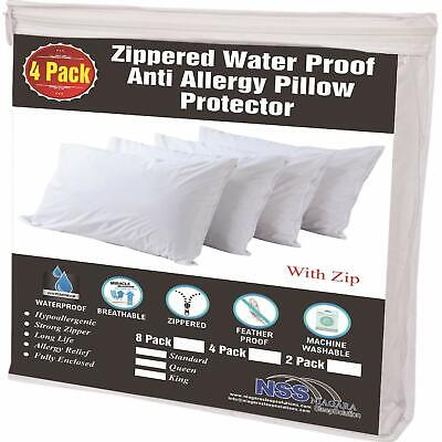 4 Pack Allergy Control Waterproof Pillow Protectors Standard 20X26 Inches 🧡Li