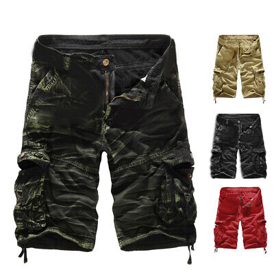 Men's Shorts Casual Cotton Camouflage Loose Cargo Pants Army Sports Overalls