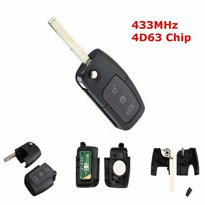 3 Button Flip Remote Key Fob Shell Case & 4D63 Chip For Ford Focus Mondeo Galaxy