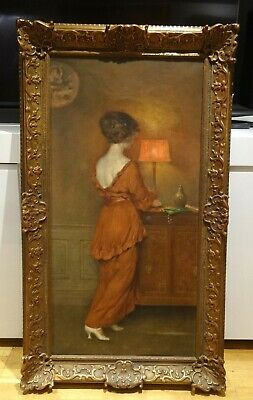Large 19th Century French Lady In Red Interior Portrait by Henri Moreau Painting