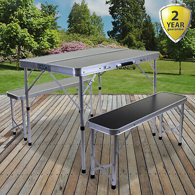Portable Folding Camping Table & Bench Set Outdoor Picnic Trestle Aluminium Seat