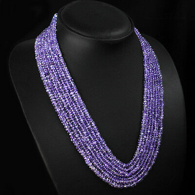 Superb Fantastic 292.00 Cts Natural Faceted Purple Amethyst Beads Necklace $$$