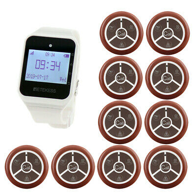 Wireless Waiter Calling System for Restaurant 1*Watch Receiver+10Call Button HOT