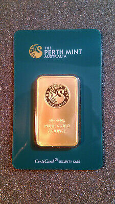 "Lingotto Oro 1 Oncia 24 Kt Gold Plated, Gold Bar Minted, ""Perth Mint""."