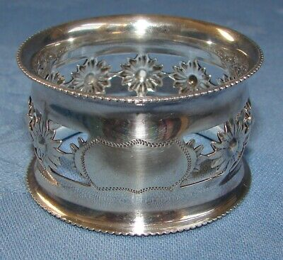 Vintage English Sterling Silver Reticulated Napkin Ring Birmingham 1907 Flowers