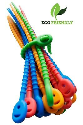 Eco Friendly Silicone Self Lock Reusable Wire Cable Zip Ties, 20 pcs