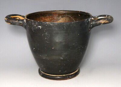Large Greek Terracotta Attic Black-Glazed Skyphos (M651)