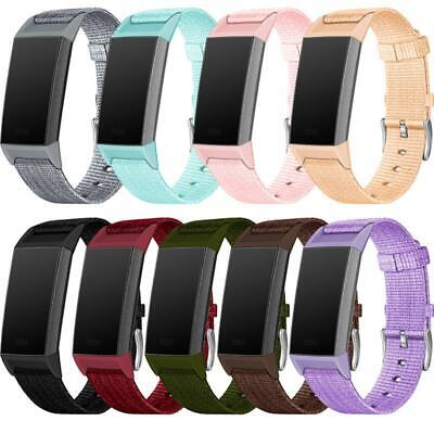 For Fitbit Charge 3 Nylon Canvas Strap Bracelet Band Replacement Watch Band