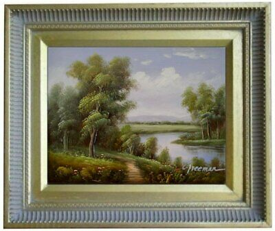 Framed Quality Hand Painted Oil Painting Landscape-Path Beside Waterhole 8x10in