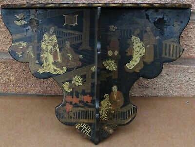 Old Fancy Oriental Black Lacquer Folding Wall Bracket Decorated With Ladies Etc