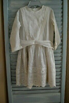"""Antique Child Dress Cotton Batiste Drop Waist For 30-32"""" French Or German Doll"""