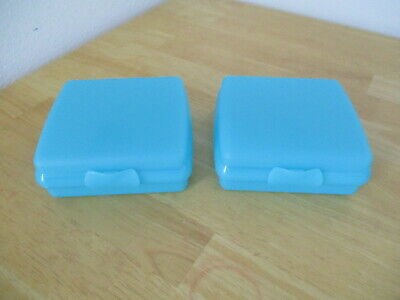 Lot of 2 Tupperware Packables Sandwich Keepers w/Hinged Lid Blue