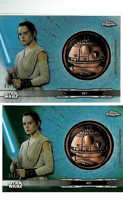 2019 Topps Star Wars Legacy Rey Medallion Relic /99 & Green /50 2 Card LOT KD)