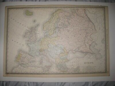 Huge Gorgeous Antique 1889 Europe & England Wales Map France Germany Poland