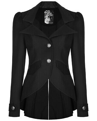 Punk Rave Womens Steampunk Jacket Tailcoat Black Gothic Victorian Faux Leather