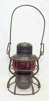 Old Antique Armspear SEABOARD AIR LINE RAILROAD Fixed RUBY RED Globe LANTERN