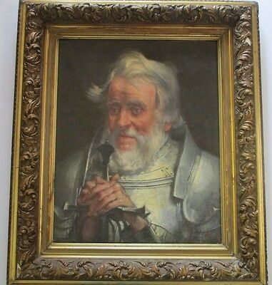 19Th Century Master Portrait Signed F.d ? Portrait Of Knight In Armor Antique