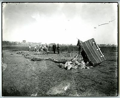 c.1900 HOT AIR BALLOON on GROUND with DAMAGED BASKET~ANTIQUE 8x10 BEHRMAN PHOTO