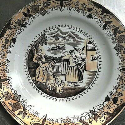 Antique Chinese Asian Plate Bowl Set (3)