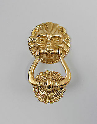 9977433 Door Knocker Lion Polished Brass Historicism New