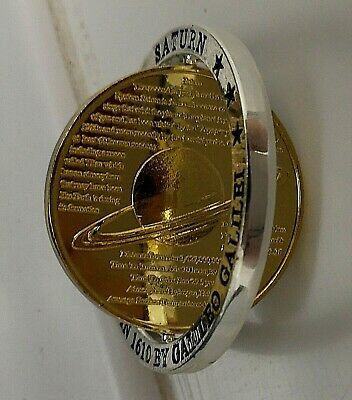 3D Gold Saturn Planet Coin Silver Rings Movable Swivel NASA Space Exploration US