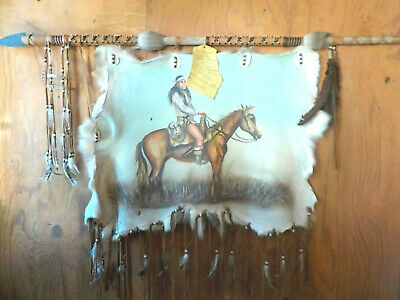 Authentic Native American Painted Fur Hide Art Signed by Artist