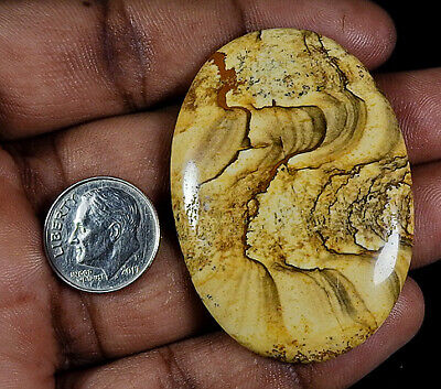 Natural Picture Jasper Oval Cabochon Loose Gemstone 82Cts Free Ship