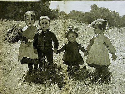Charles Giron FOUR CHILDREN in SUN SUNNY FIELD 1889 Antique Art Print Matted