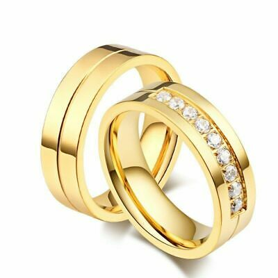 Stainless Steel Promise Ring Gold Silver Men/Women CZ Couple Wedding Band Sz6-14