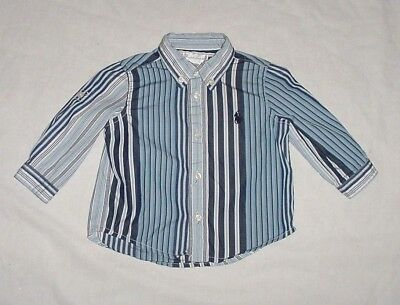EUC Ralph Lauren Blue & White Striped Button Down Dress Shirt 6 Months
