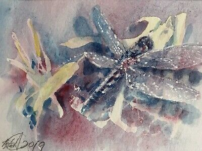 ACEO Original painting Dragonfly Dragonflies art Originals direct From artist