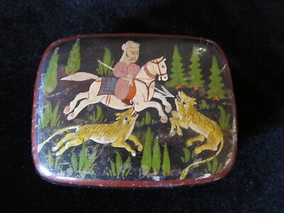 OLD PAPIER MACHE BOX hand painted HUNTING tigers deer GIBSON MUSEUM SALE